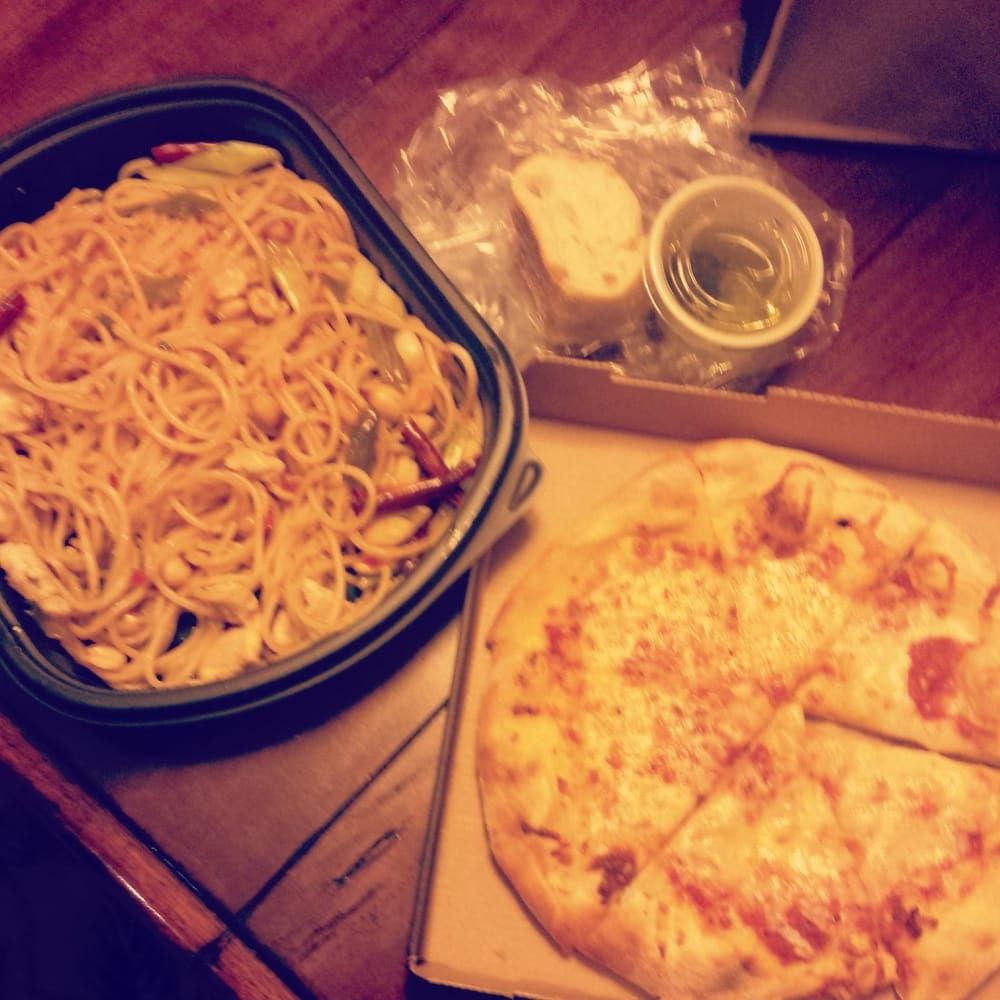 Kids cheese pizza with drink 2 kung pao spaghetti with