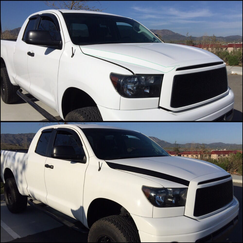 Toyota Tundra before and after. Avery satin black hood ...