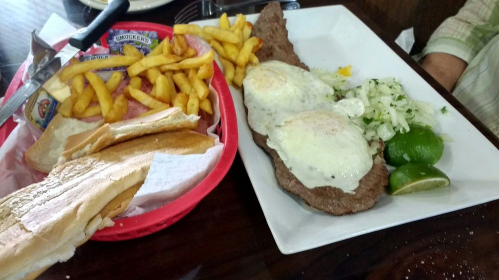 Bistec a Caballo (steak with 2 eggs & onions/cilantro) with French ...