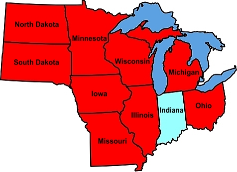 Upper Midwest Map For Best Places In The Upper Midwest States WI - Us map of midwest states