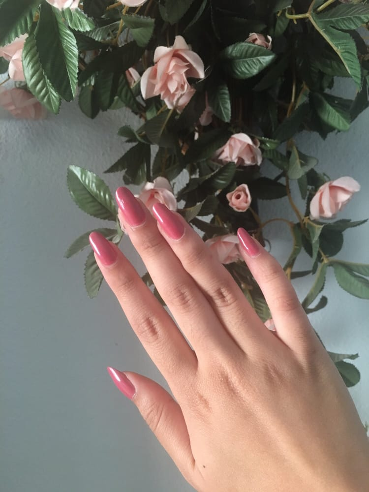Regular manicure w/ color OPI Shanghai Shimmer and filed to a long ...