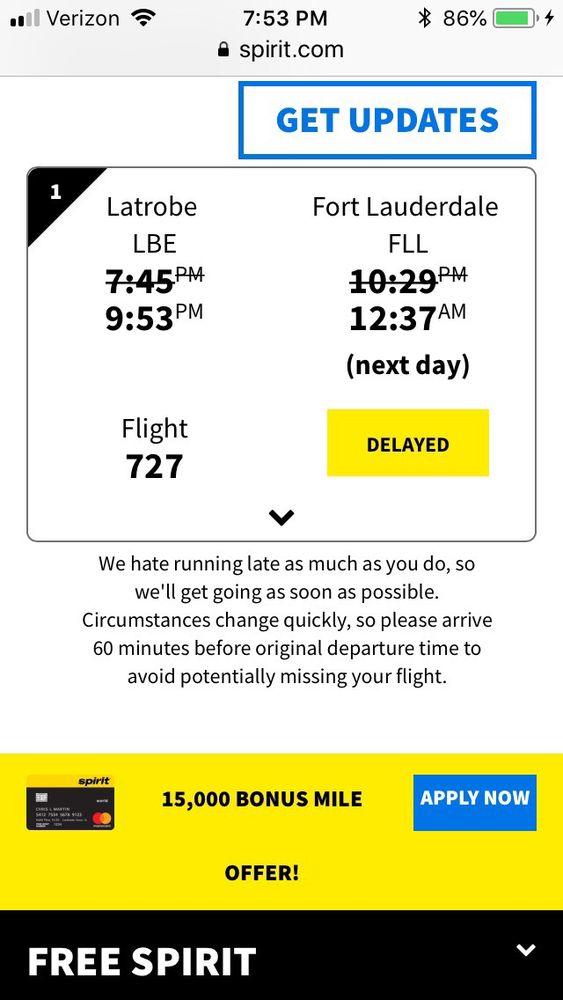 Spirit Airlines: 148 Aviation Ln, Latrobe, PA