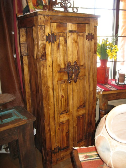 Ox yoke cabinet with heavy pulls yelp for Rustic home albuquerque