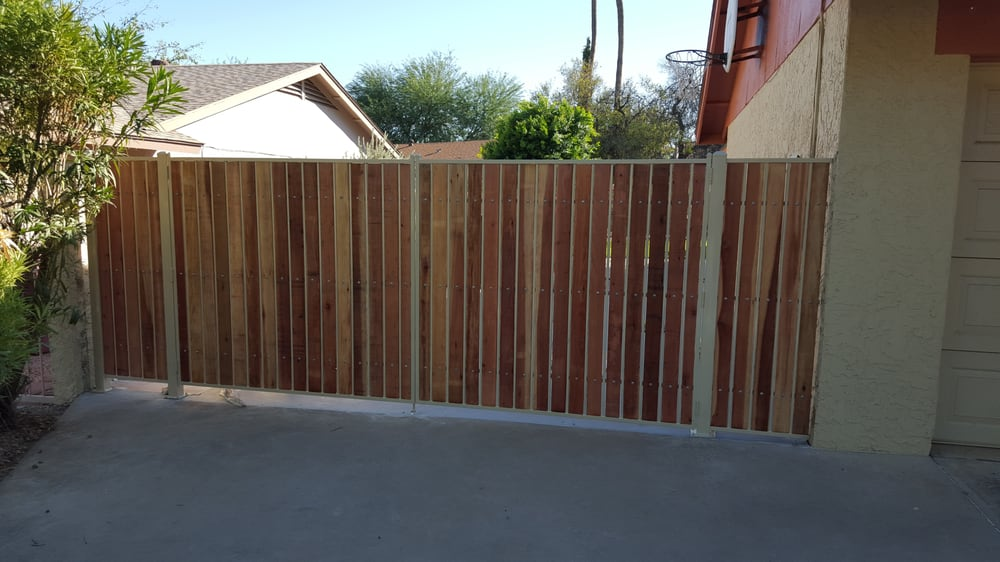Custom 12 Foot R V Gate And Matching Side Panels With Red