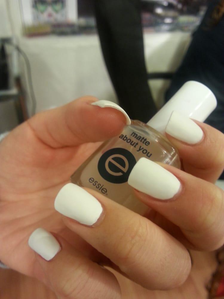 Matte white New Years nails! w/ essie \