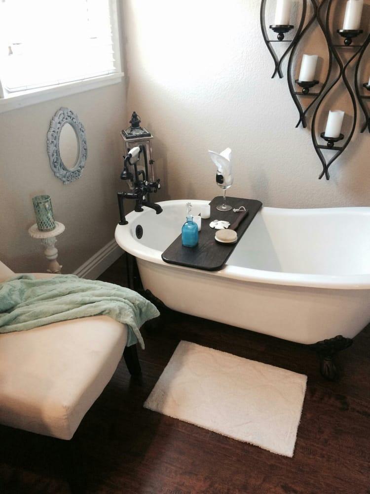 Master bath transformation with new cast iron slipper clawfoot tub ...