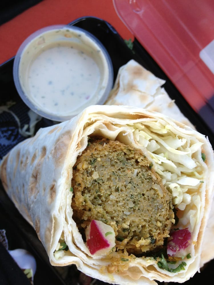 Falafel Wrap With Hummus And A Tahini Dipping Saucw Yelp