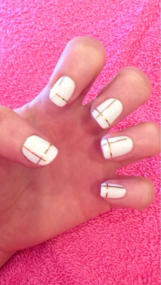 White gel color with gold line design by Jessica. Matching pedicure ...