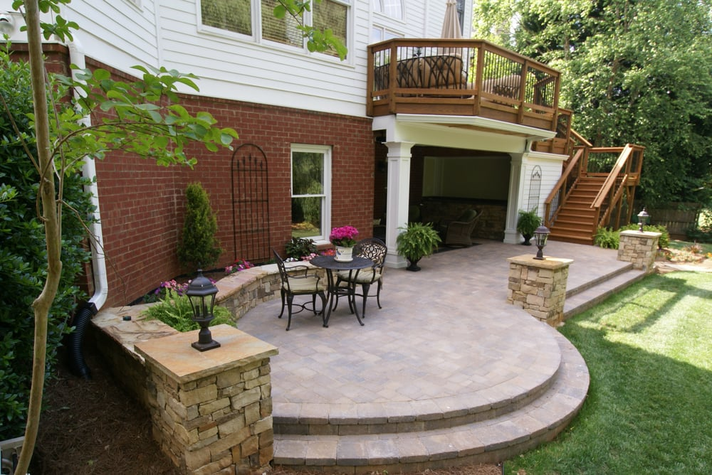 open porch paver patio timbertech deck stone column by archadeck of