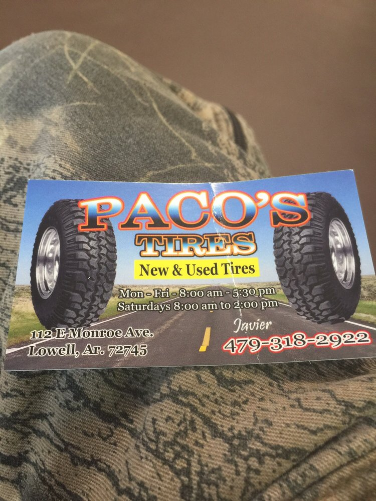 Paco's Tires Express Service: 112 E Monroe Ave, Lowell, AR