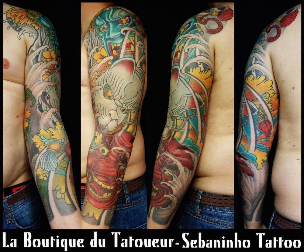 tatouage japonais masques n kitsune fudo tengu bras homme yelp. Black Bedroom Furniture Sets. Home Design Ideas