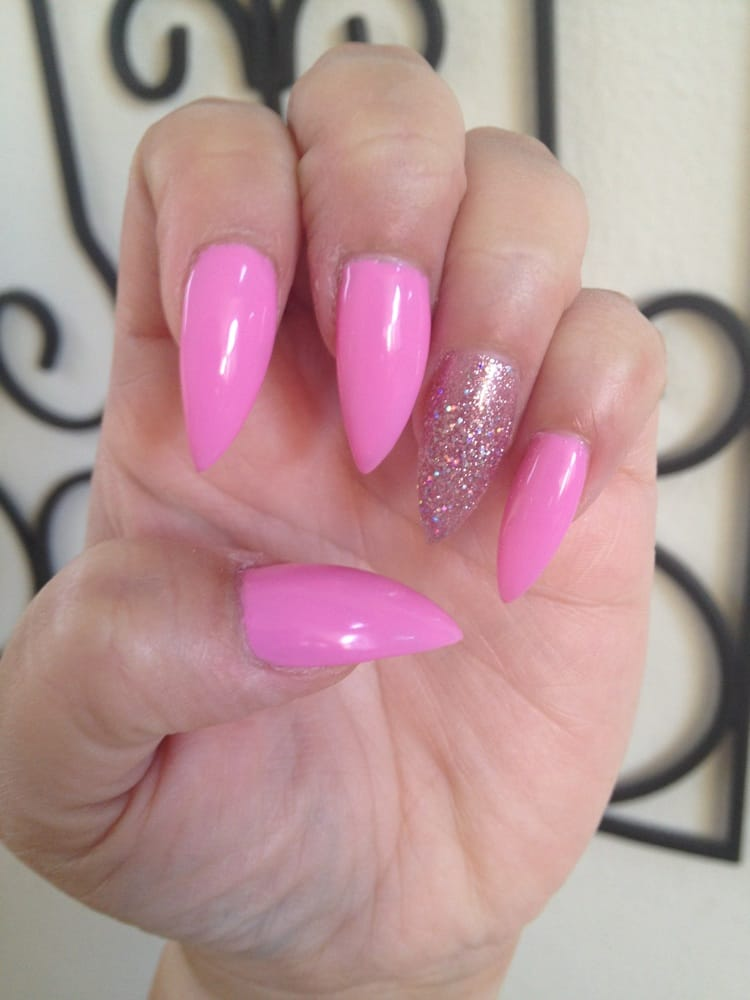 pretty in pink gel stiletto nails by Jane - Yelp