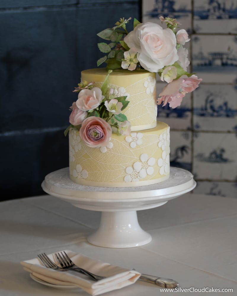 Handcrafted Edible Wafer Paper Flowers And Sugar Lace On A White