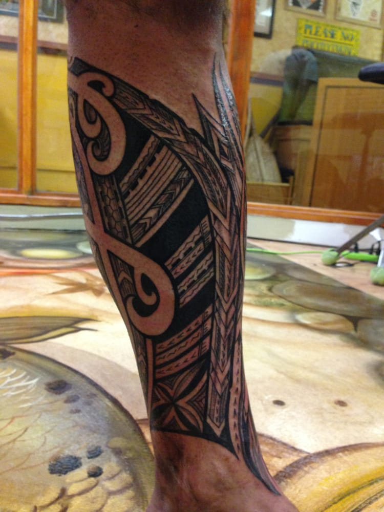 Lower leg piece done by aisea soul signature yelp for Tattoo shops in waikiki