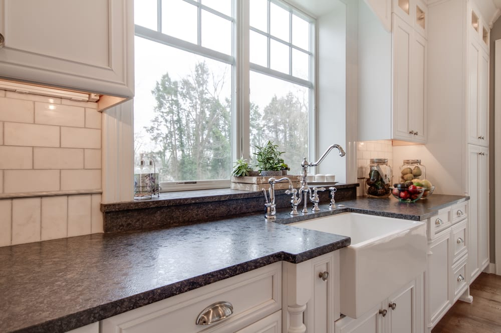 Silver Pearl Leathered Granite Countertops With Sink Bump
