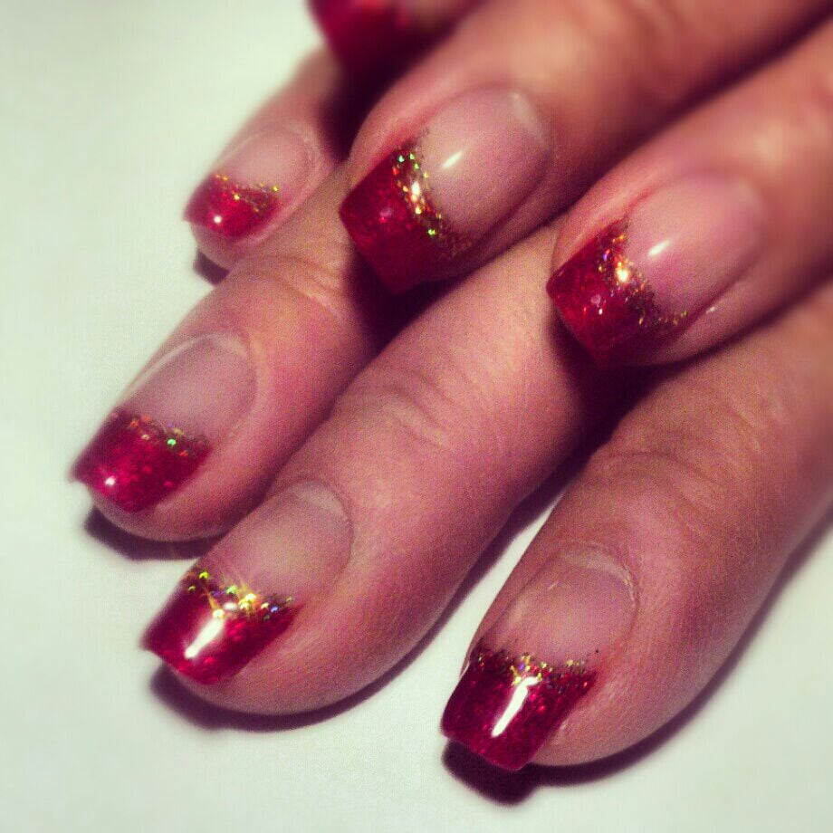 Dark Red French Tips With Glitter By The Amazing Kathy Yelp