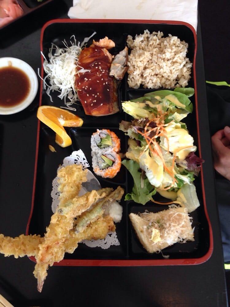 lunch bento box with salmon teriyaki and shrimp tempura yelp. Black Bedroom Furniture Sets. Home Design Ideas