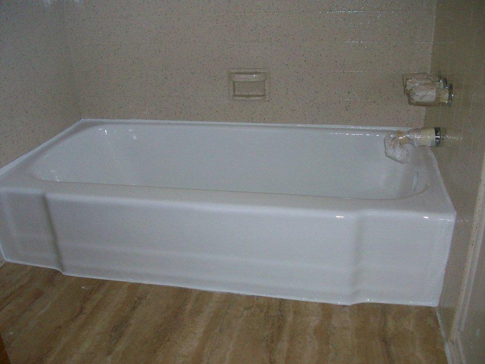 Porcelain tub & Tile enclosure (after) Tub reglazed in glossy white ...
