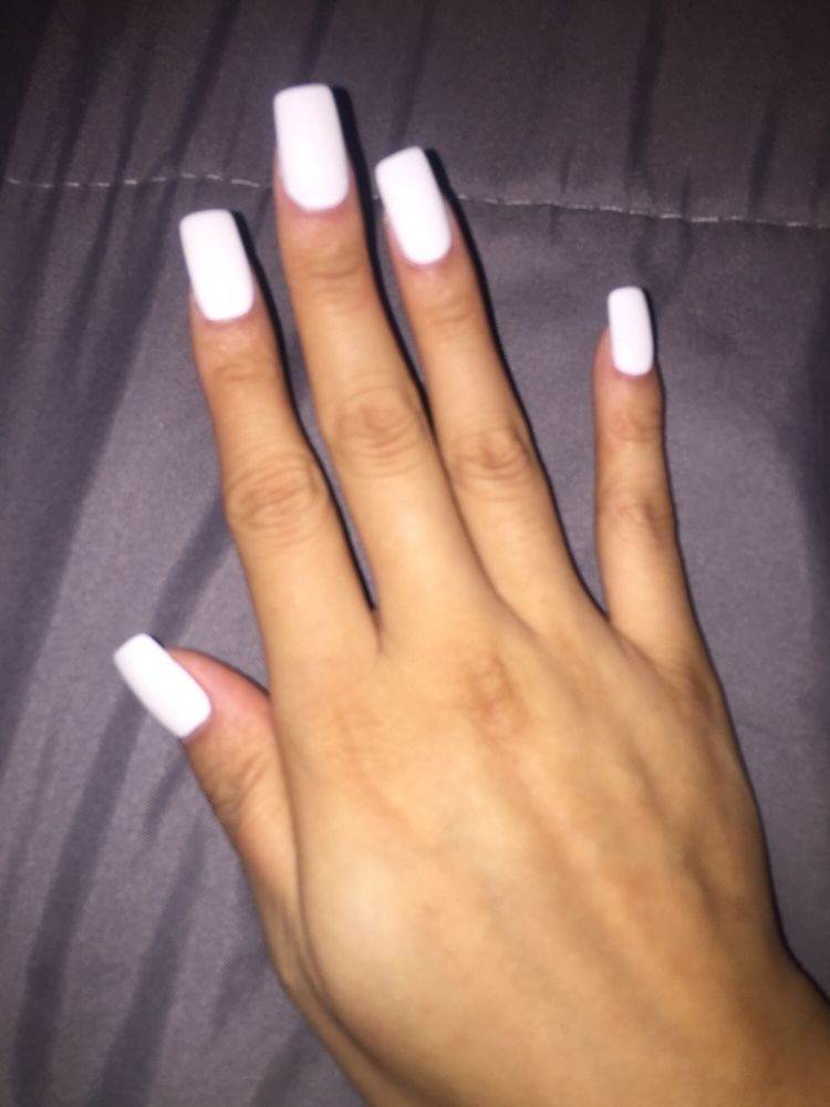 91 long square white nails 20 pink and white ombre