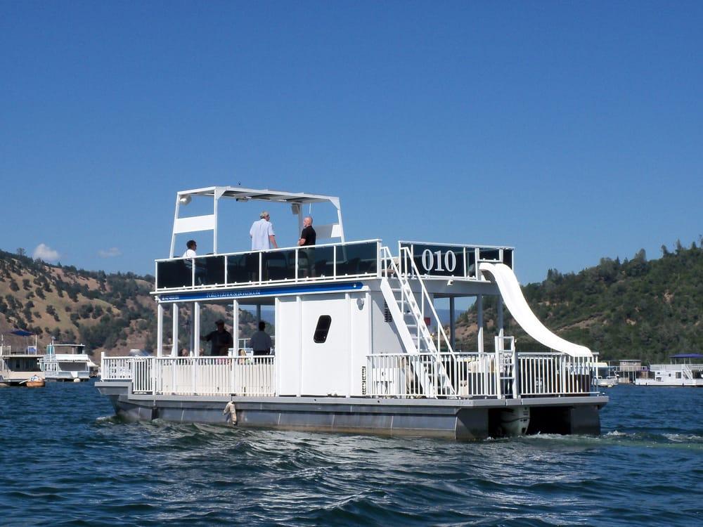 44 Ft Patio Pontoon Boat Has Upper Deck Water Slide