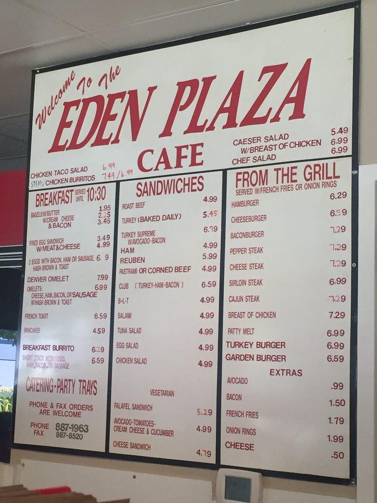 Eden Plaza Cafe Menu
