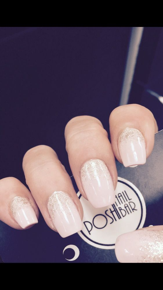 Gel builder--with glixer gel polish and a pretty gold ombré nails by ...