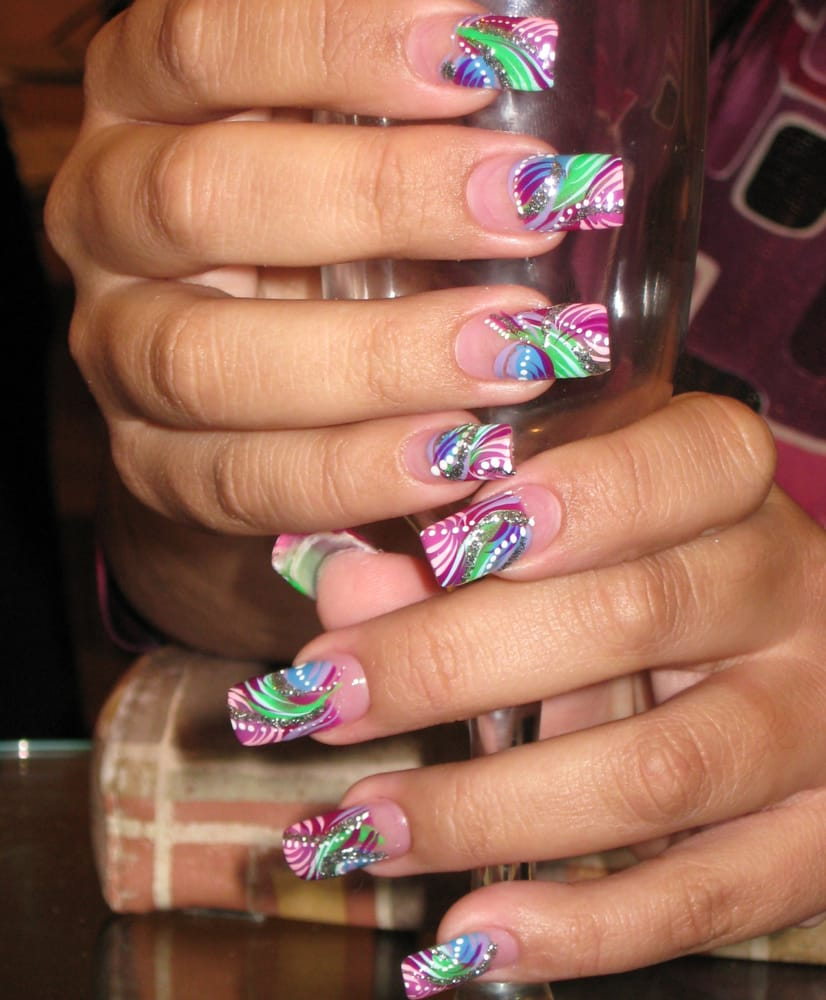 Hand Painted nail art done in Summer colors - Yelp