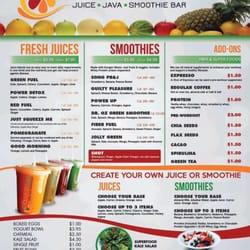 Powerfuel juice java smoothie cafe juice bars for Bar food la menu