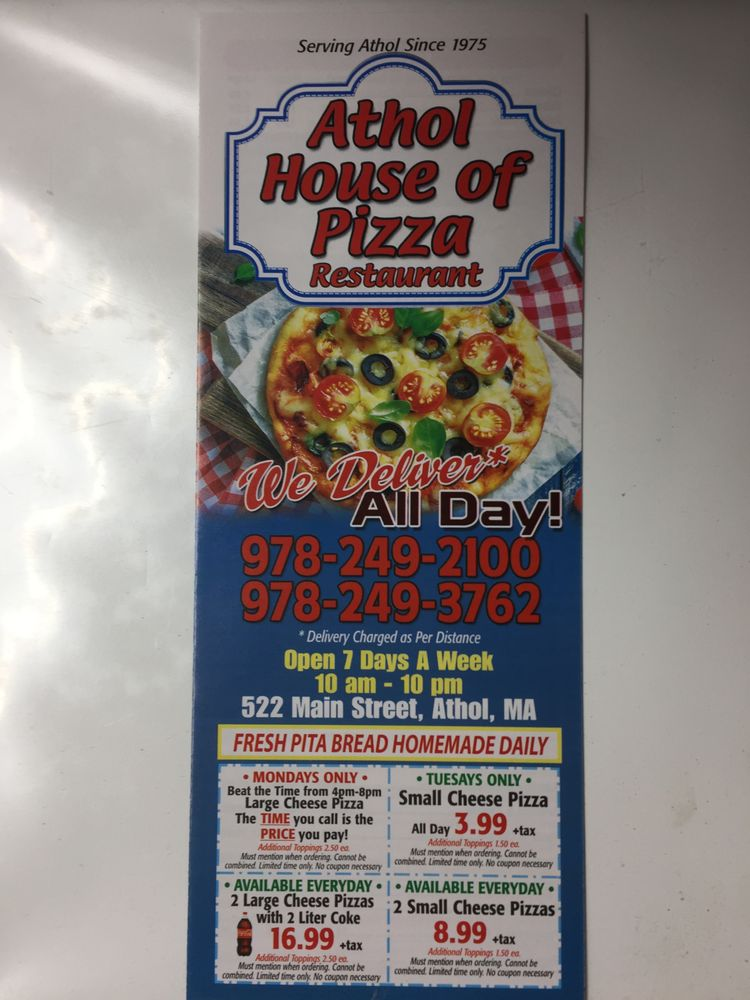 Athol House of Pizza Restaurant & Bakery: 522 Main St, Athol, MA