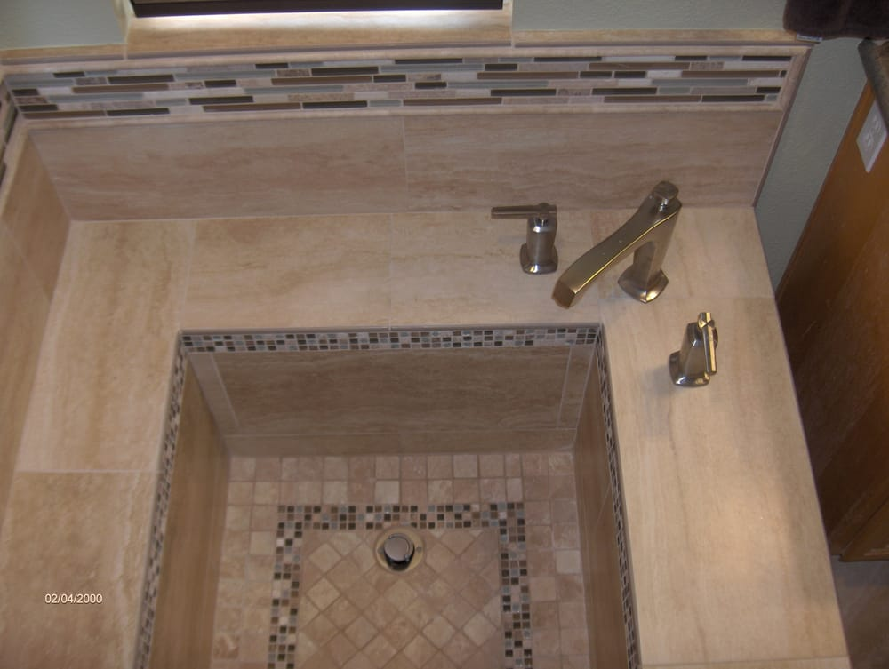 Roman Tub With Porcelain Tile And Glass Stone Details In Scripps Ranch Yelp
