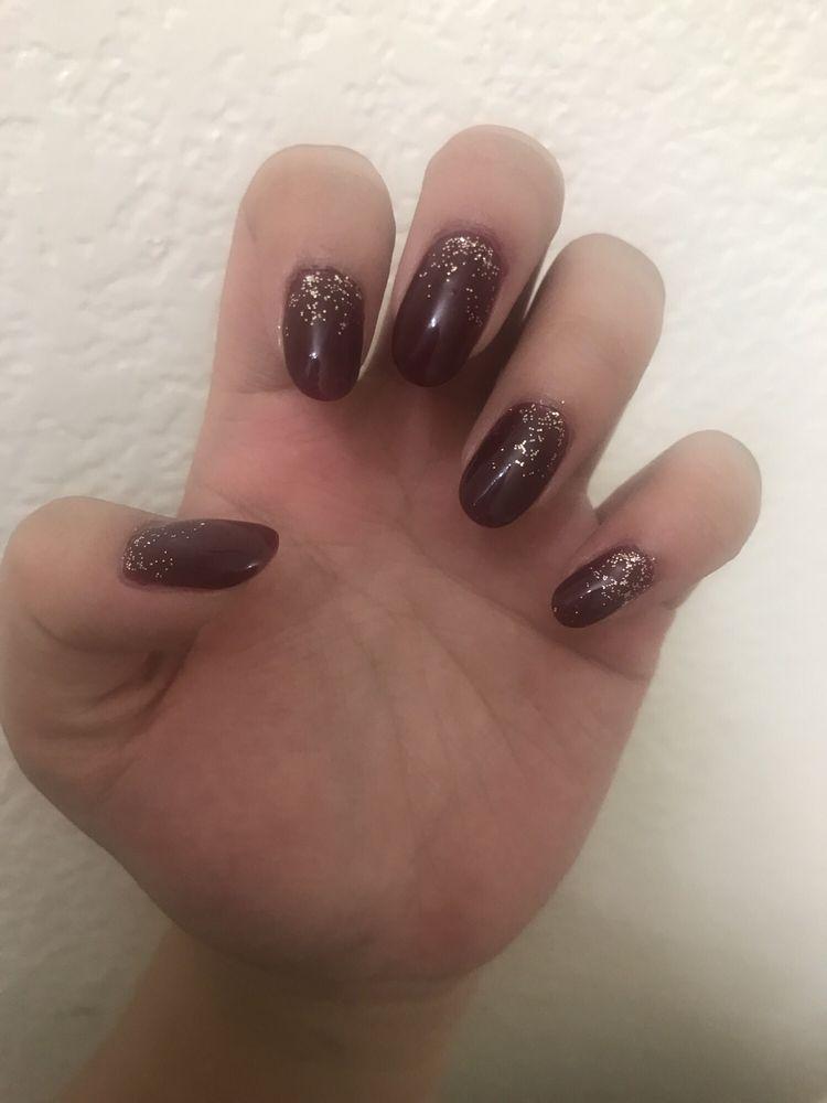 Maroon gel mani with gold glitter - $26 - Yelp