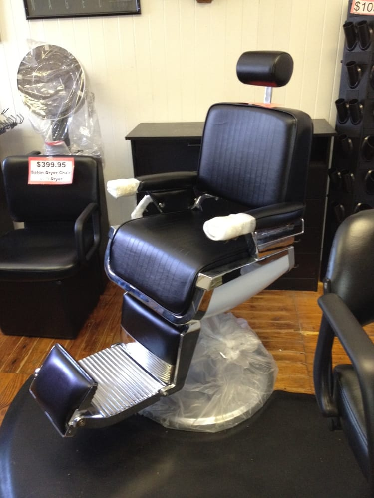 We carry NEW AND USED equipment Barber Chairs Styling