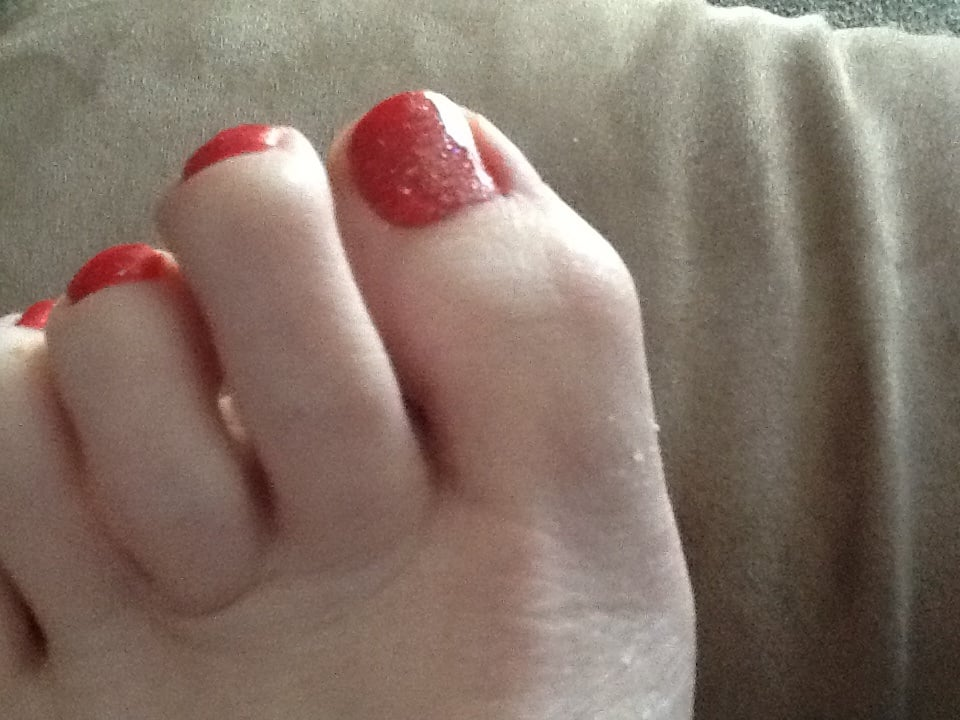 Gelish Pedicure.....Coral with Silver Sparkles Top Coat! - Yelp