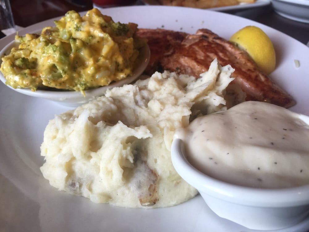 salmon with rice with broccoli casserole and idaho mashed potatoes rh yelp com
