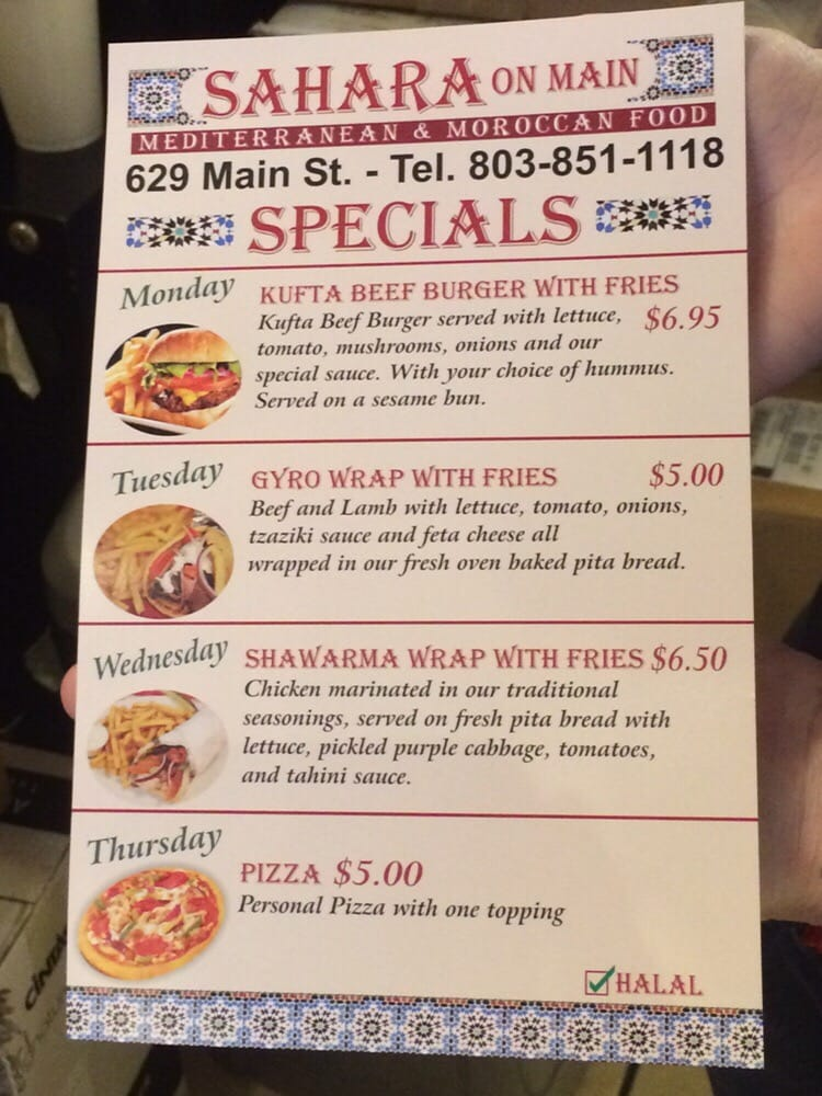 Weekly Restaurant Specials Columbia Sc