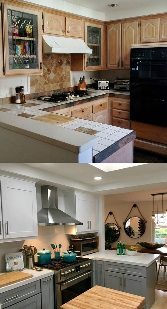 Removed Wall To Open Kitchen To Dining Room Used Two Colors Of