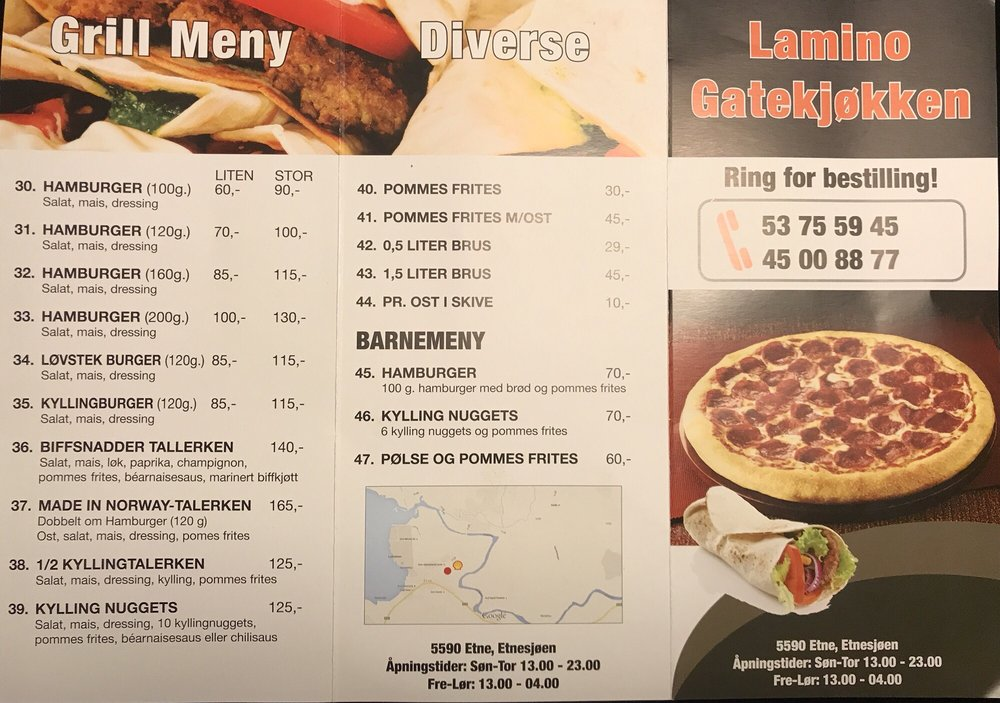 Lamino Gatekjokken Pizza Etnesjoen, Etne, Norge Restaurangrecensioner Telefonnummer Yelp