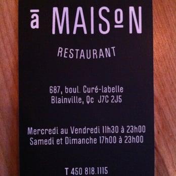 Restaurant a maison pubs gastronomiques 687 boul du for A maison restaurant blainville