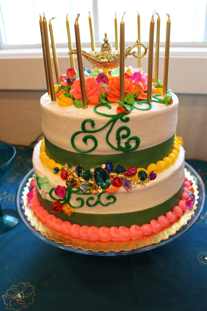 2 Tier Cake From Pavilions Spring Design But Added Gold Candles