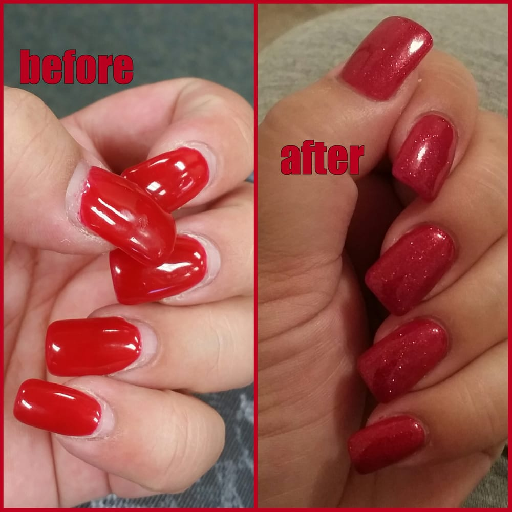 My nails before & after the fill. - Yelp