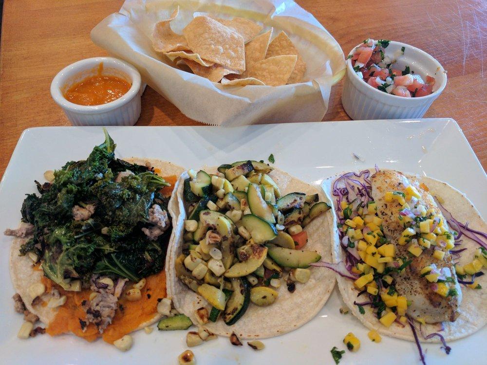 L:R... Soul taco, squash (vegan), and fish. All GF and YUM ...