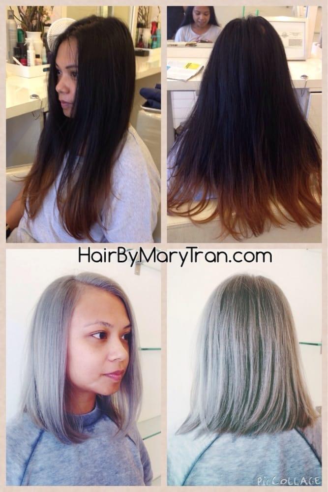 Asian Dark Hair To Silver Blonde Hair With Long Bob Haircut Yelp