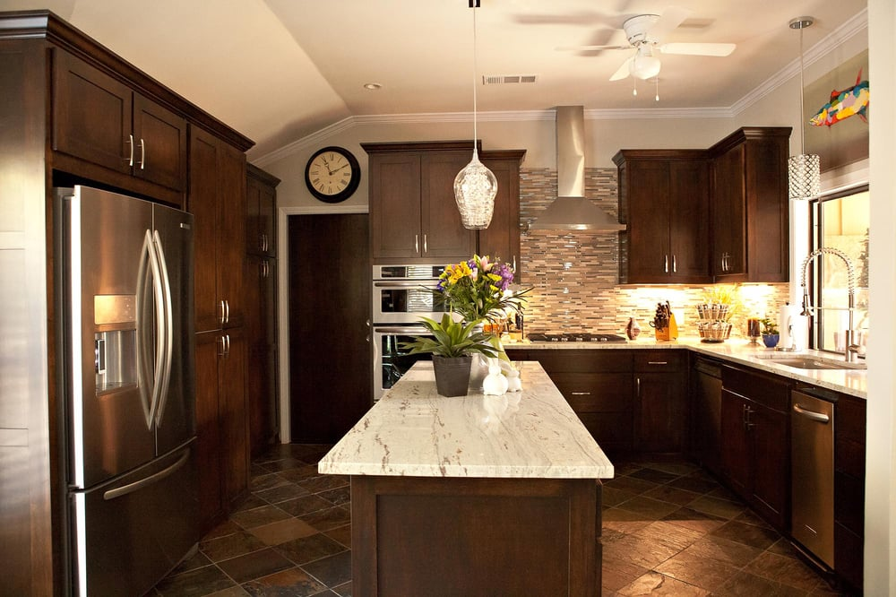 Slate tile flooring, granite countertops, custom maple ... on Backsplash Maple Cabinets With Black Countertops  id=38684