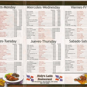 Nelly S Latin Restaurant Monticello Ny Menu