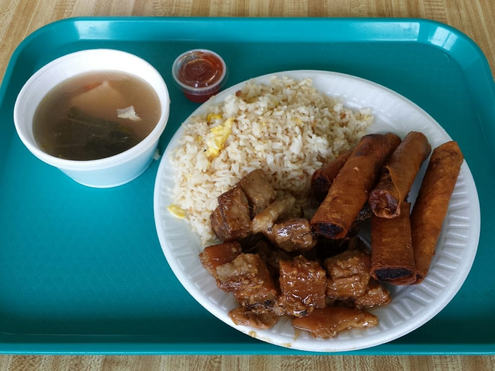 Pork adobo lumpia fish soup garlic fried rice yelp for Susan s fish and chips
