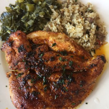 Blackened Chicken (slightly spoiled), Dirty Rice, Collard