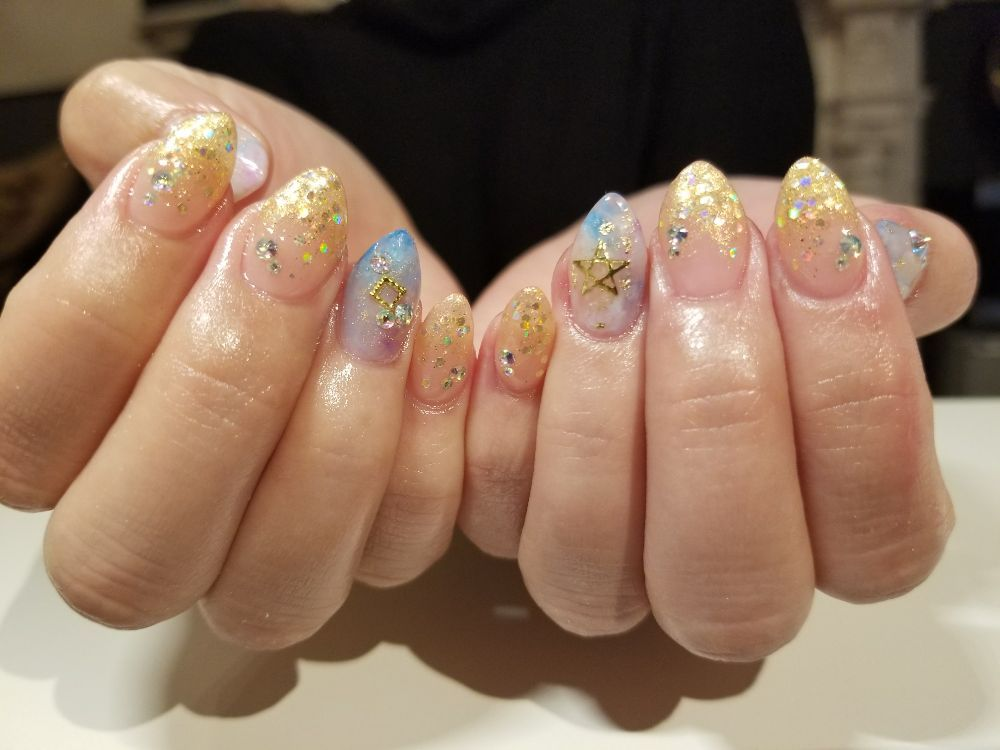 Hard gel extensions with design - Yelp