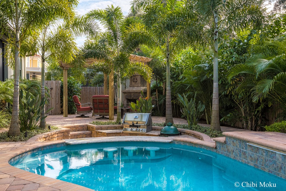 Landscape Fusion Outdoor Living New Heated spa pool with ... on Outdoor Living Pool And Spa id=51496