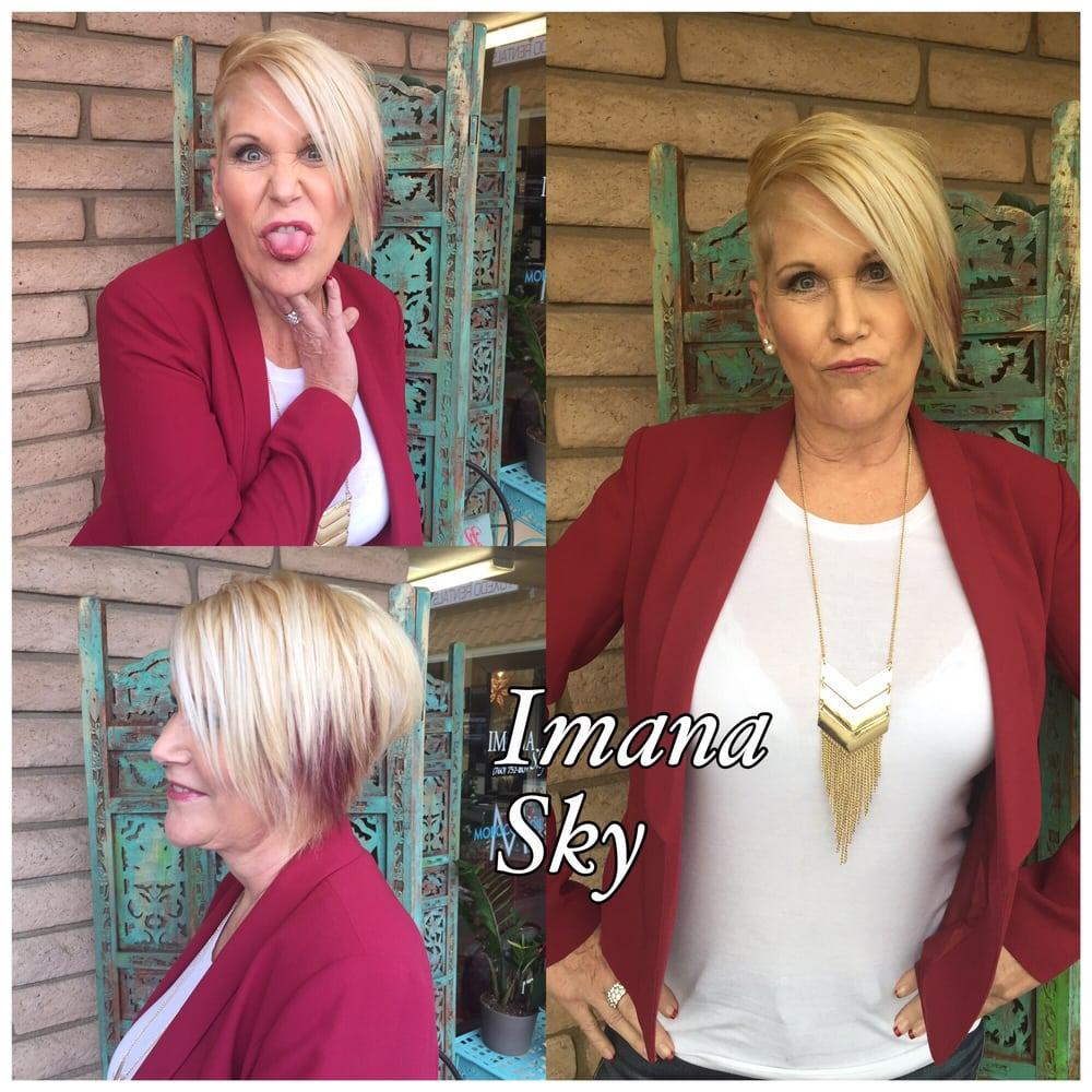 Sassy Short Blonde Hair With Cherry Peek A Boo Highlight By Rosana
