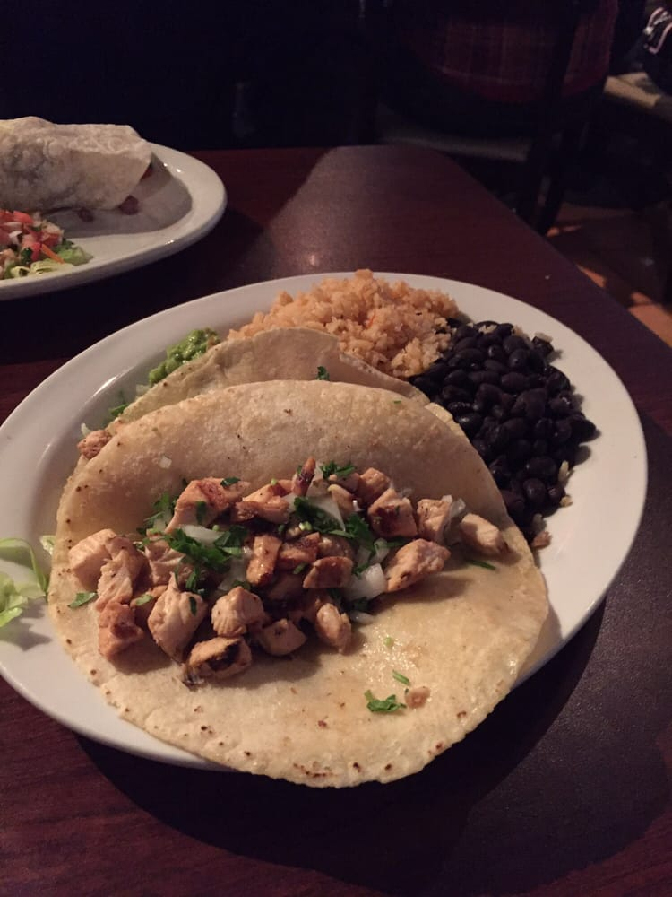 Grilled chicken tacos with black beans tortillas are - Mexican american cuisine ...